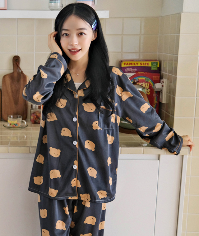 kikiko-곰돌이얼굴파자마SET♡韓國女裝套裝