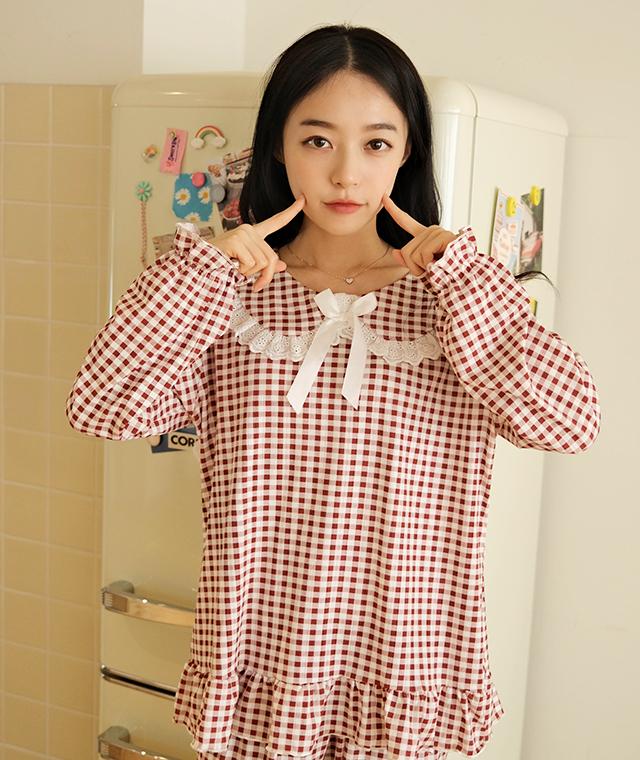 kikiko-리본체크파자마SET♡韓國女裝套裝