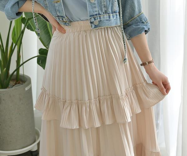 DailyN-(무배)엘핀 러블리 캉캉 롱 밴딩 스커트♡韓國女裝裙