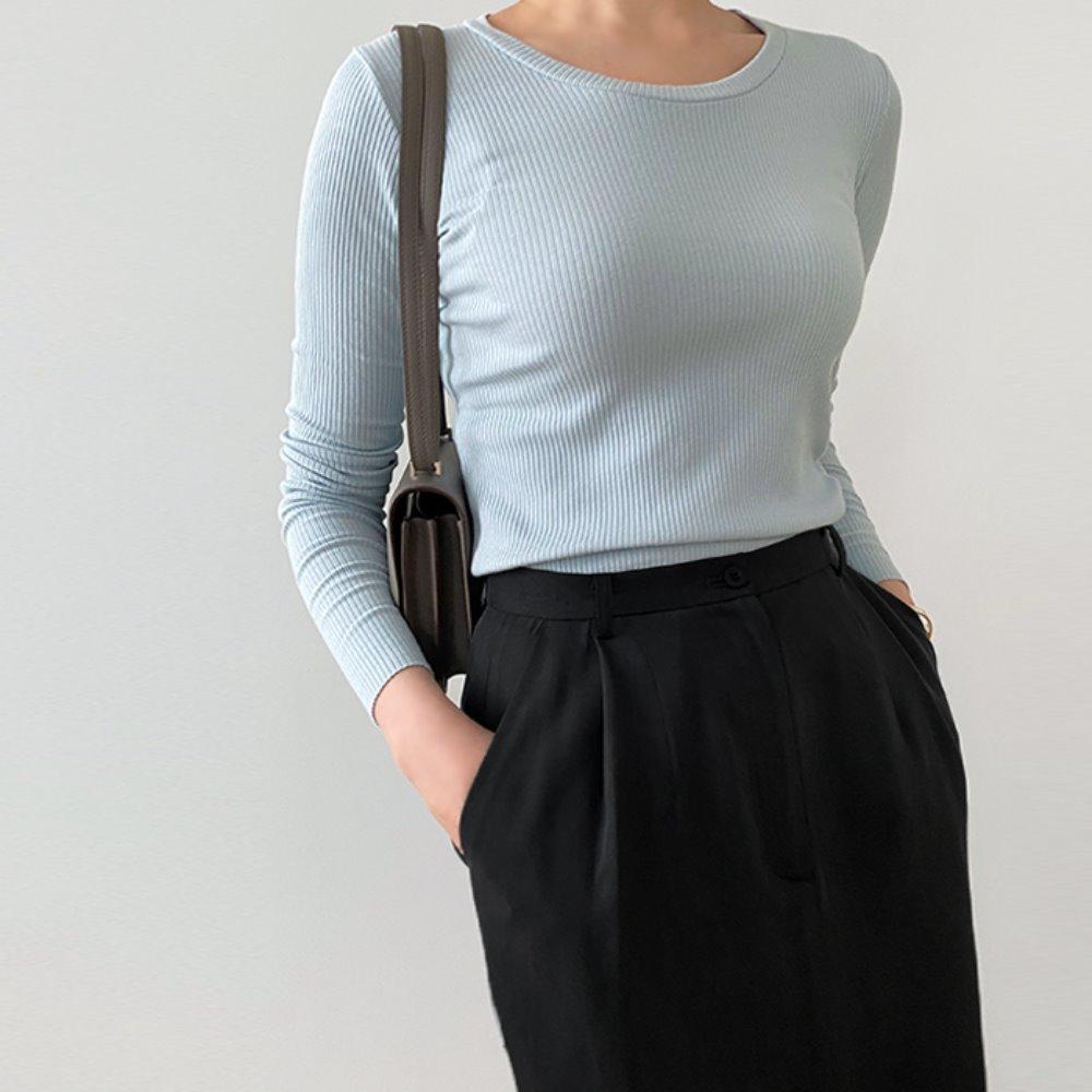 littleblack-U 넥 골지 티셔츠(2C)♡韓國女裝上衣