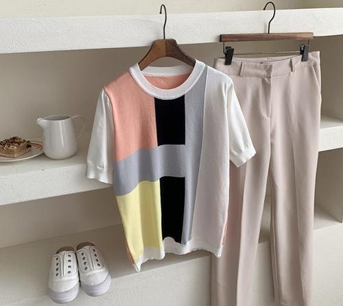 beige blanc-돌체 컬러배색 라운드 반팔 니트]♡韓國女裝上衣