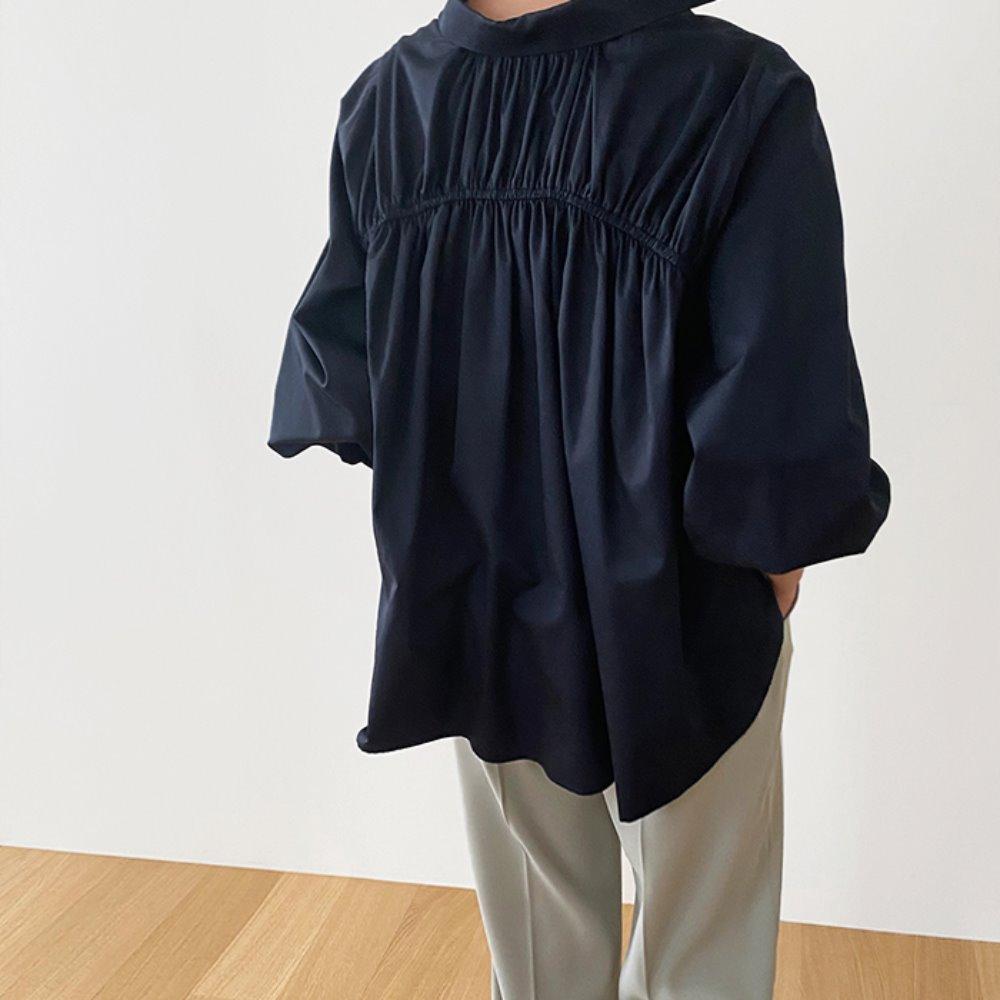 littleblack-백 주름 퍼프 셔츠(2C)♡韓國女裝上衣