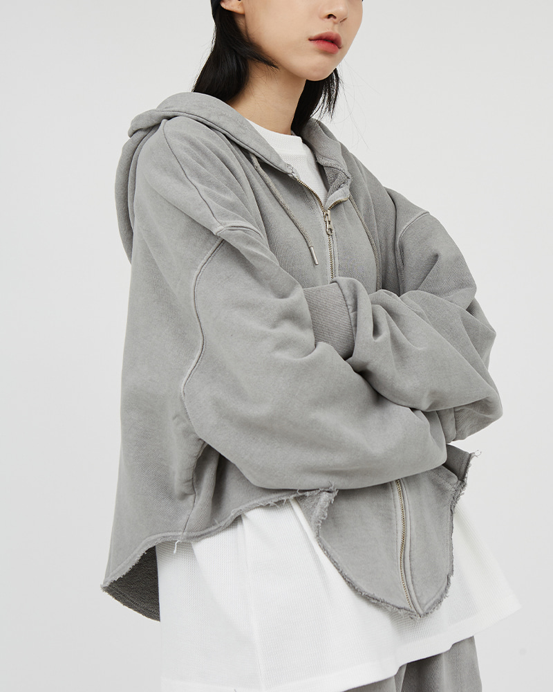 raucohouse-피그먼트 워시드 컷팅 후드 집업♡韓國男裝上衣