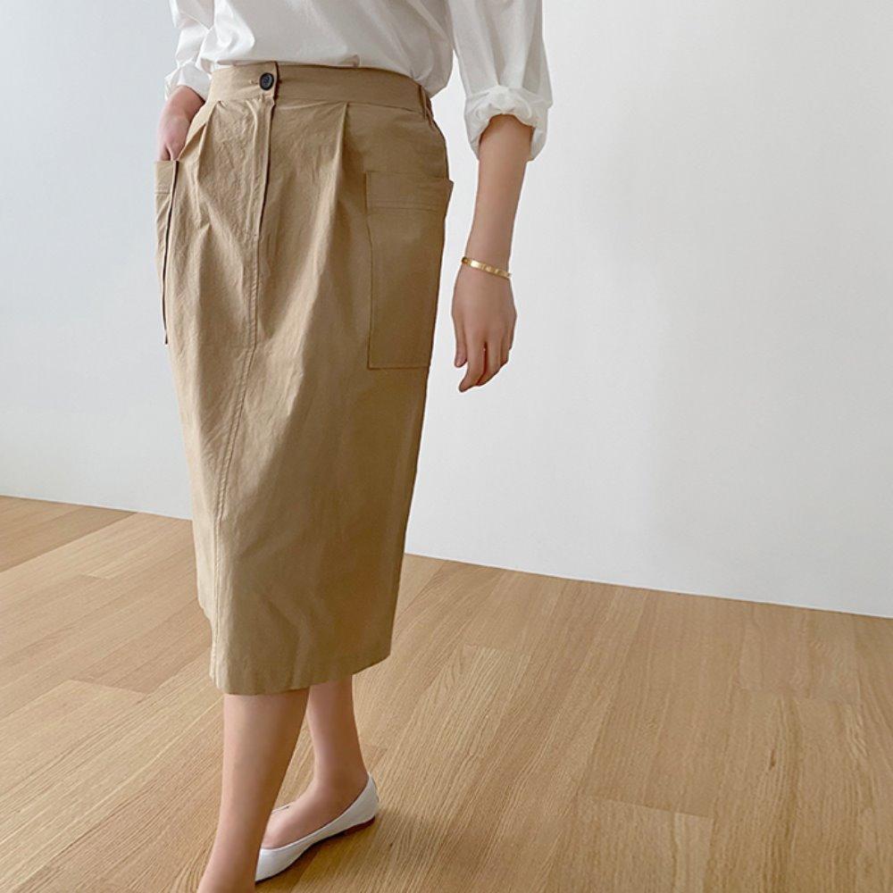 littleblack-코튼 포켓 H라인 스커트(뒤밴딩)(S, M)♡韓國女裝裙