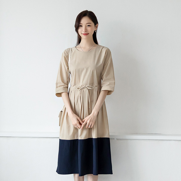 misscandy-[no.20285 허리스트링 플리츠 배색원피스]♡韓國女裝連身裙