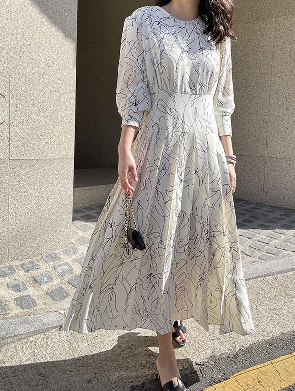 ssumj-드로잉 플리츠 롱 원피스(2col)♡韓國女裝連身裙