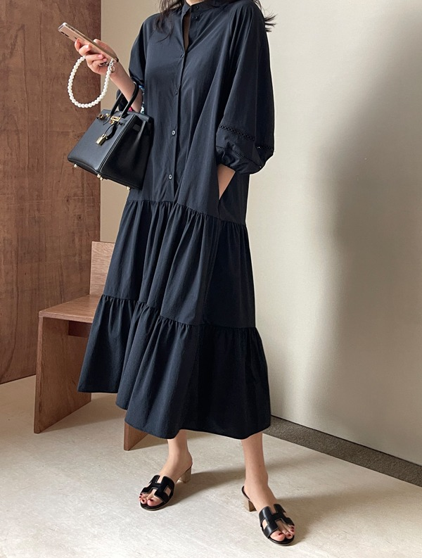 ssumj-에이브 펀칭 캉캉 원피스(2col)♡韓國女裝連身裙