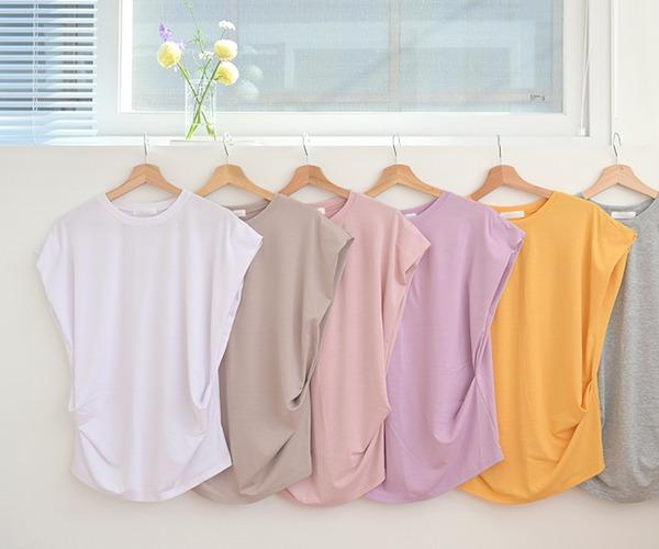 DailyN-(무배)나인 레이온 셔링 캡소매 티셔츠♡韓國女裝上衣