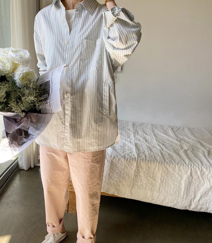sibuya-[포키 스트라이프 SH (남녀 공용)]♡韓國女裝上衣