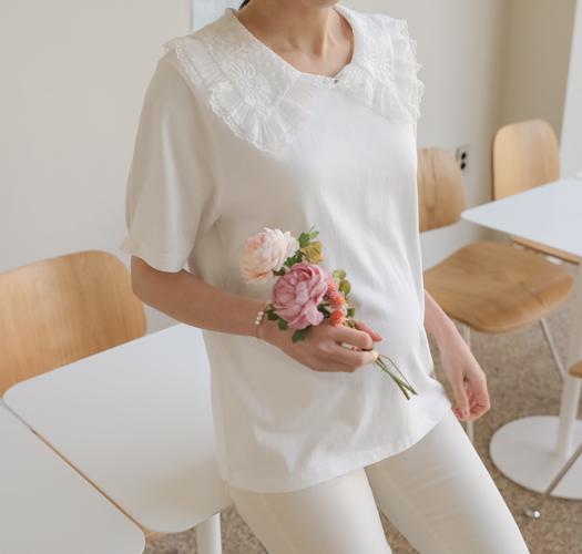soim-[임부복*레이스코튼 레이어드티셔츠]♡韓國孕婦裝上衣
