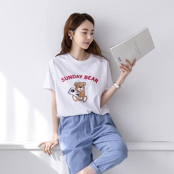 misscandy-[no.20283 선데이베어 루즈핏 코튼티셔츠]♡韓國女裝上衣