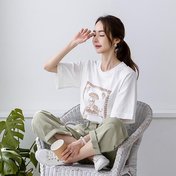 misscandy-[no.20281 코끼리나염 라운드넥 코튼티셔츠]♡韓國女裝上衣