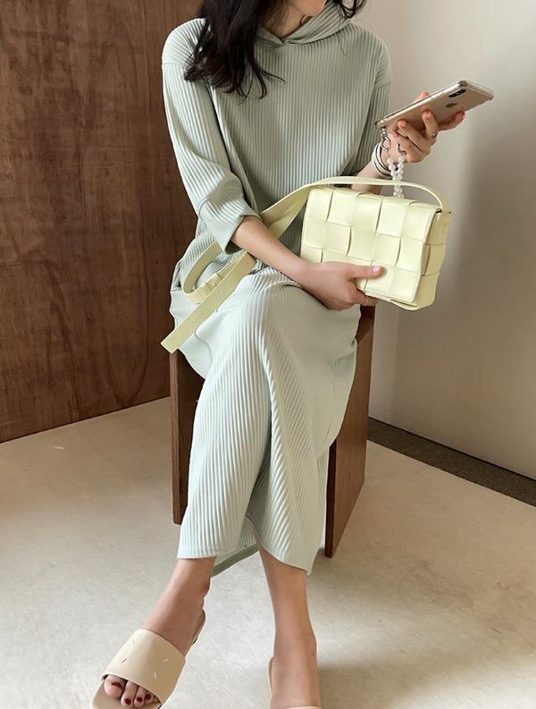 ssumj-골지 후드 롱 원피스(3col)♡韓國女裝連身裙