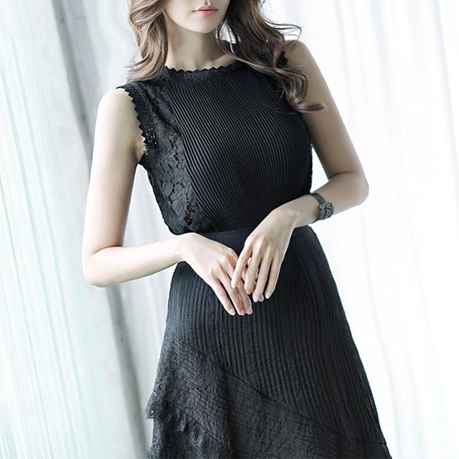 dint-[B2245 킨센 레이스 플리츠 슬리브리스 블라우스(100th REORDER)]Document♡韓國女裝上衣