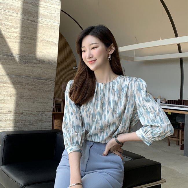 likeher-테슬러 나염블랑bl:2color♡韓國女裝上衣