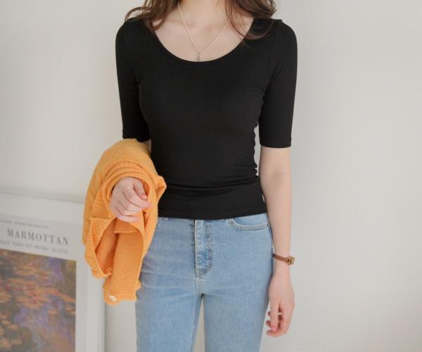 DailyN-(무배)비트윈 베이직 슬림핏 5부 골지 티셔츠♡韓國女裝上衣