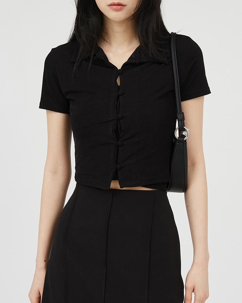 raucohouse-버튼 크롭 셔츠♡韓國女裝上衣