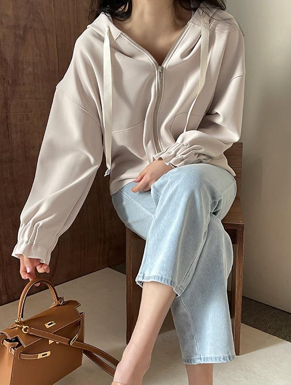 ssumj-로코 셔링 후드 집업(2col)♡韓國女裝外套