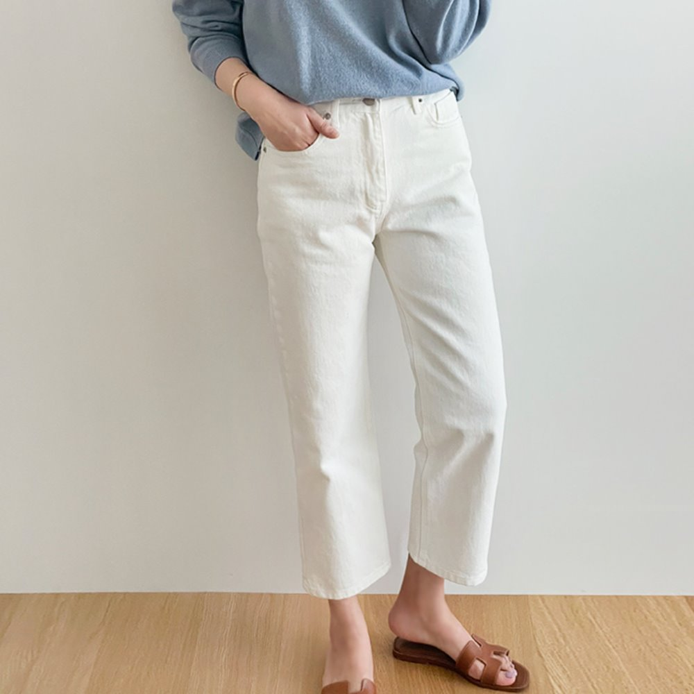 littleblack-베이직 크롭 아이보리 데님(S, M)♡韓國女裝褲