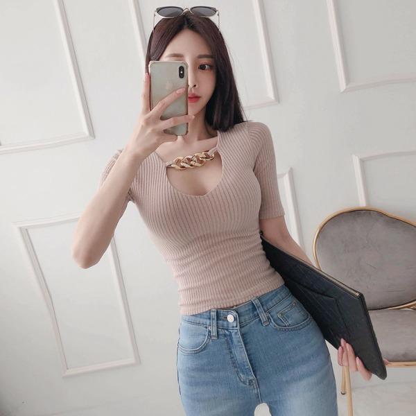 babinpumkin-메이플월넛 골지 티셔츠♡韓國女裝上衣