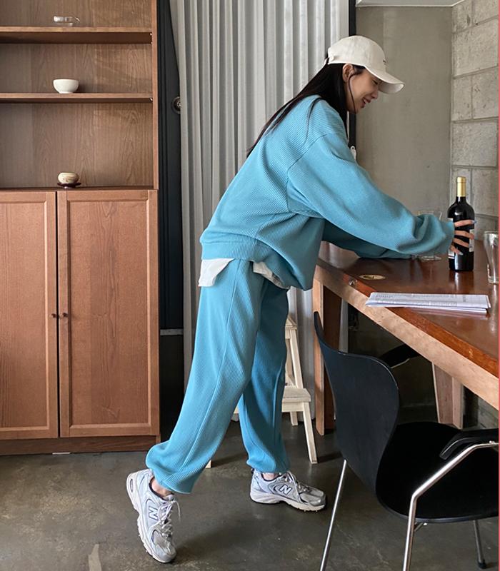 sibuya-[와플 컬러 조거 pt (남녀 공용)]♡韓國女裝褲