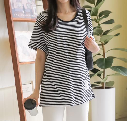 soim-[임부복*라벨포인트 단가라티셔츠]♡韓國孕婦裝上衣