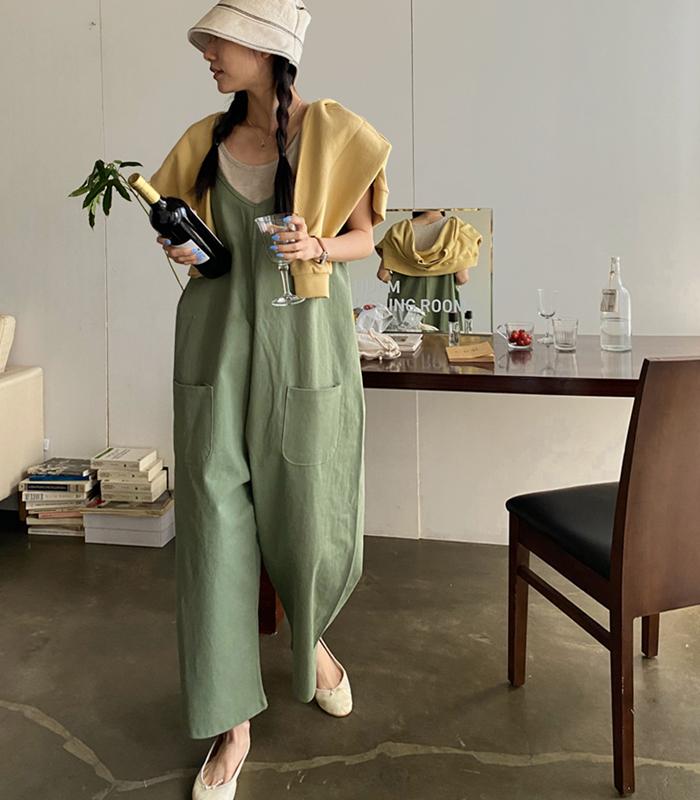 sibuya-[끈나시 와이드 오버롤]♡韓國女裝連身裙
