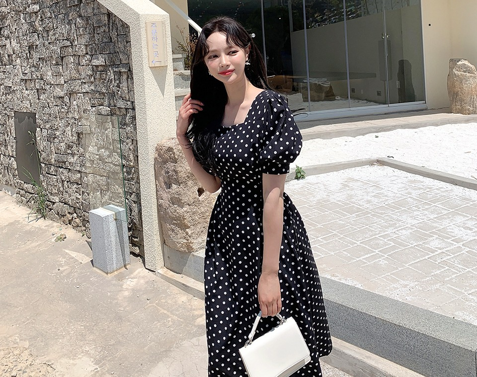 ririnco-도트플린 스퀘어넥 리본 도트 원피스♡韓國女裝連身裙