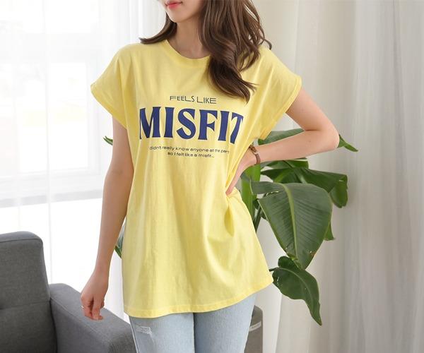 DailyN-(무배)필스 레터링 라운드 캡소매 티셔츠♡韓國女裝上衣
