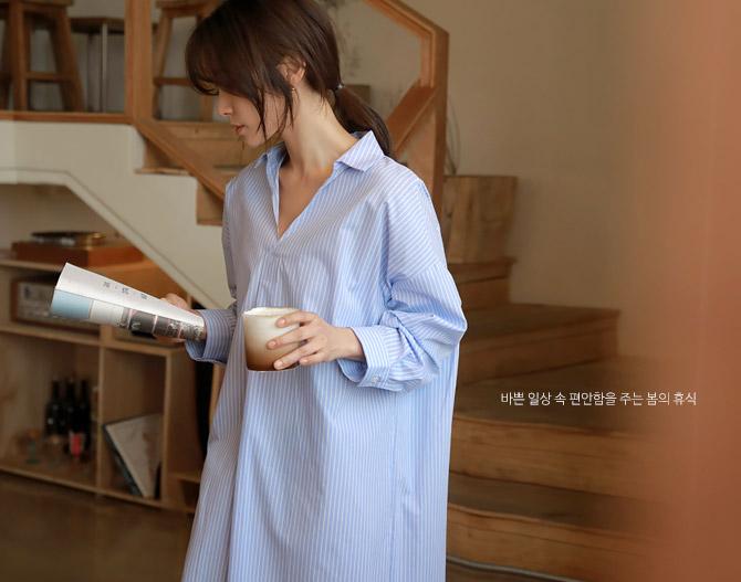 chichera-세련된 그녀들의 선택, 시크헤라[스트라이프셔츠롱원피스]♡韓國女裝連身裙