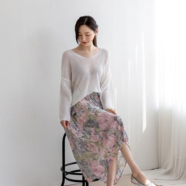 misscandy-[no.20296 수채화플라워 플리츠 밴딩스커트]♡韓國女裝裙