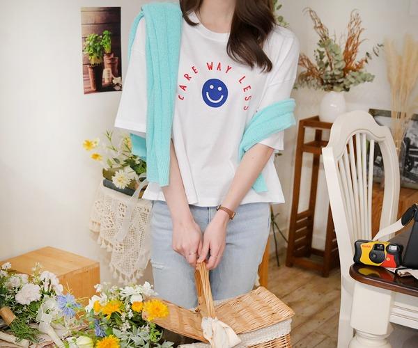 DailyN-(무배)케어 스마일 루즈핏 레터링 크롭 티셔츠♡韓國女裝上衣