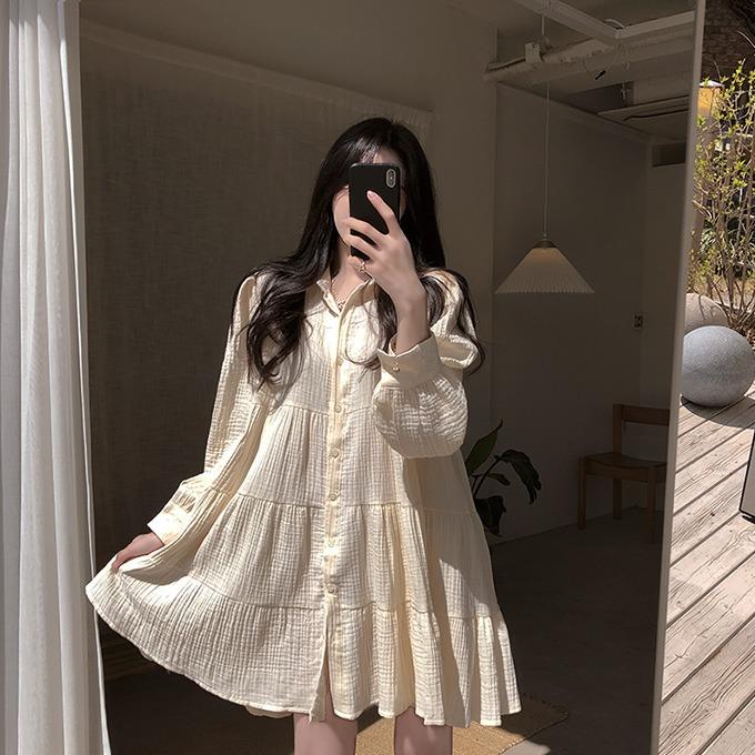 henique-빛나는 오늘 셔링 프릴 캉캉 미니 원피스 (크림/블랙)♡韓國女裝連身裙