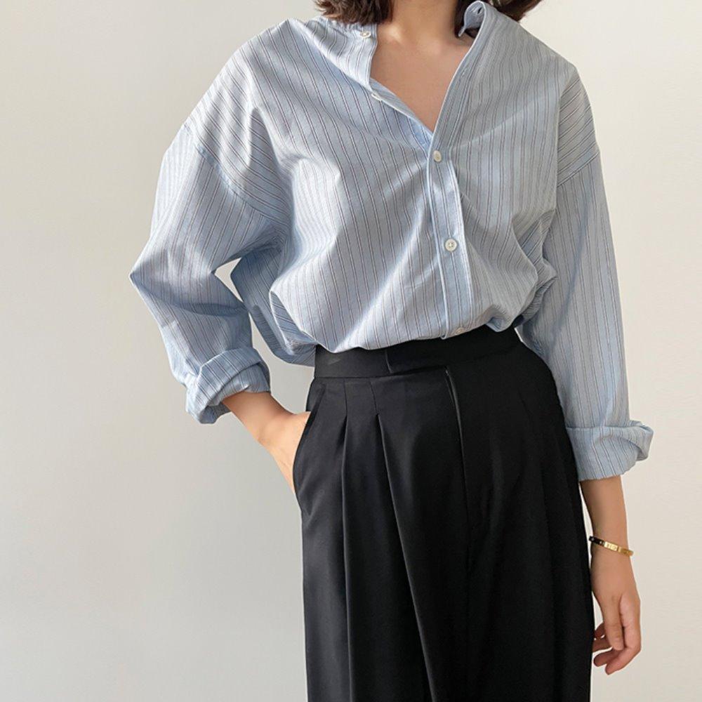 littleblack-라운드 스트라이프 셔츠♡韓國女裝上衣