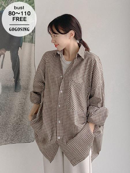 ggsing-[8일9시까지9%할인]쿤체크 루즈NB (셔츠,오버핏,무료배송)♡韓國女裝上衣