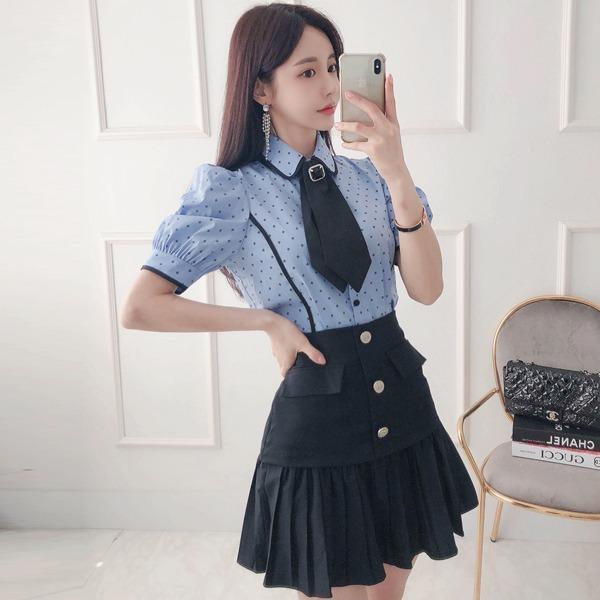 babinpumkin-해피버스데이 블라우스(타이 브로치 세트)♡韓國女裝上衣