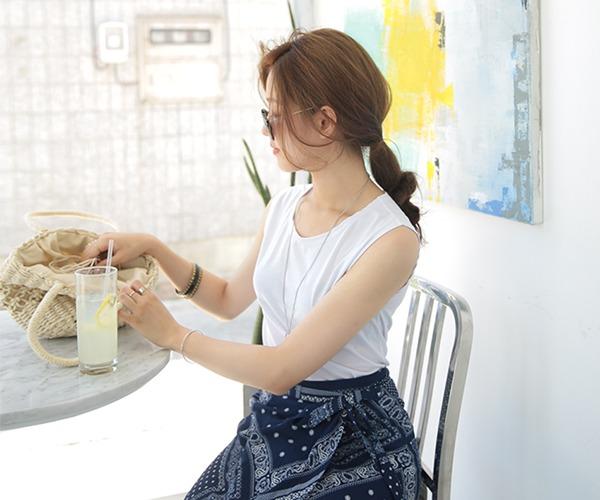 DailyN-(무배)디에고 여름 무지 민소매 티셔츠♡韓國女裝上衣