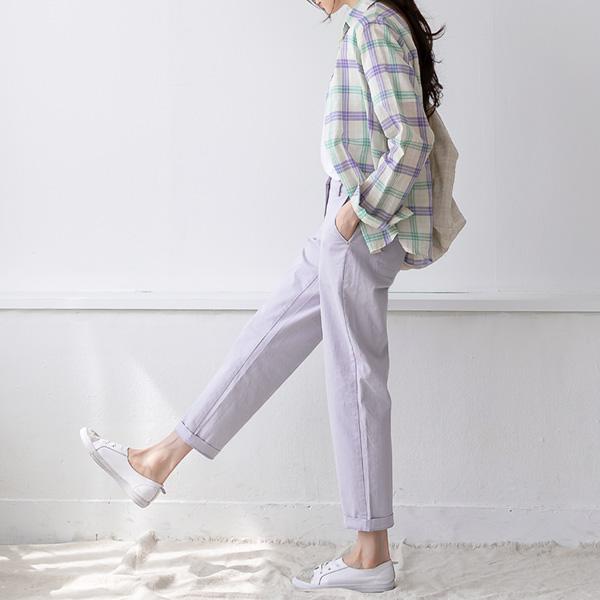 misscandy-[no.20307 파스텔컬러 뒷밴딩 코튼팬츠]♡韓國女裝褲