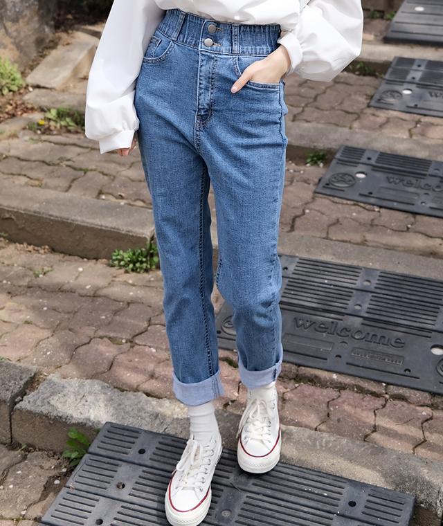 kikiko-두툼버튼인밴딩데님P♡韓國女裝褲