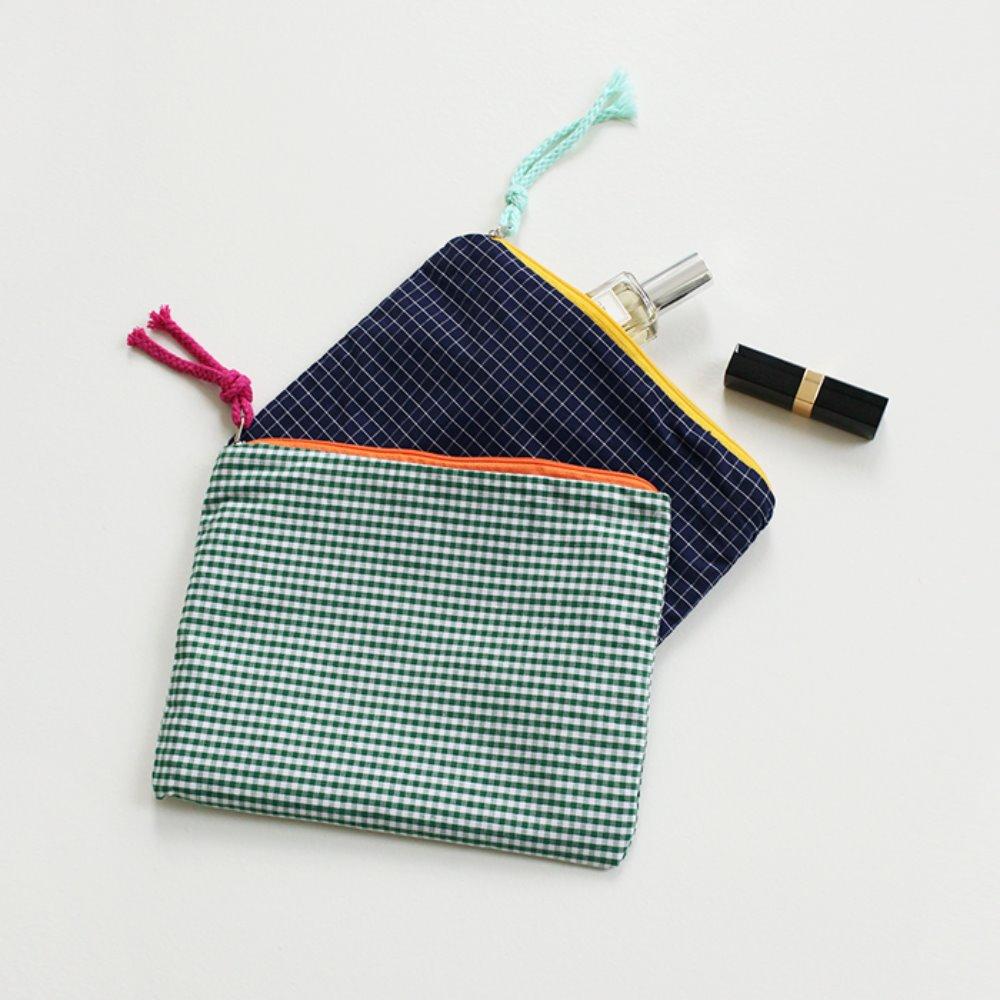 littleblack-배색 체크 파우치(2C)♡韓國女裝袋