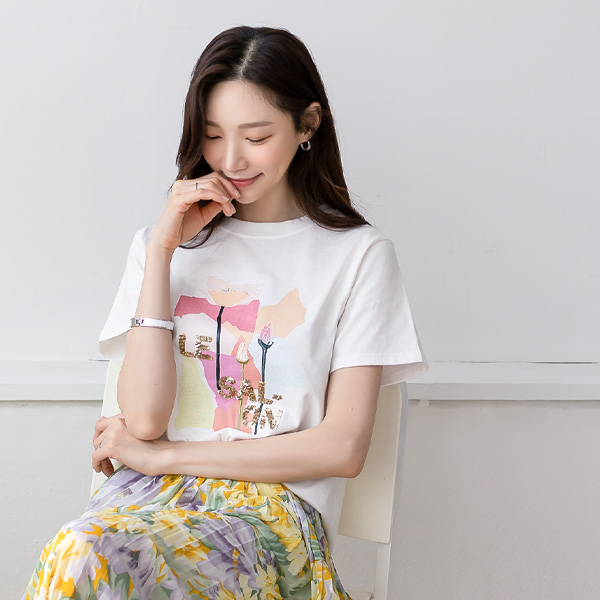 misscandy-[no.20303 스팽글&꽃자수 라운드넥 티셔츠]♡韓國女裝上衣