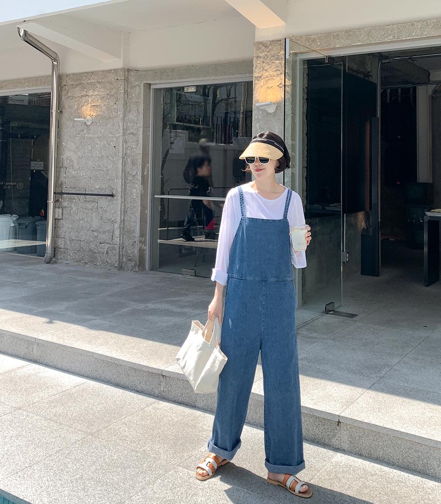 cocoblack-[모리 데님 점프수트]♡韓國女裝褲