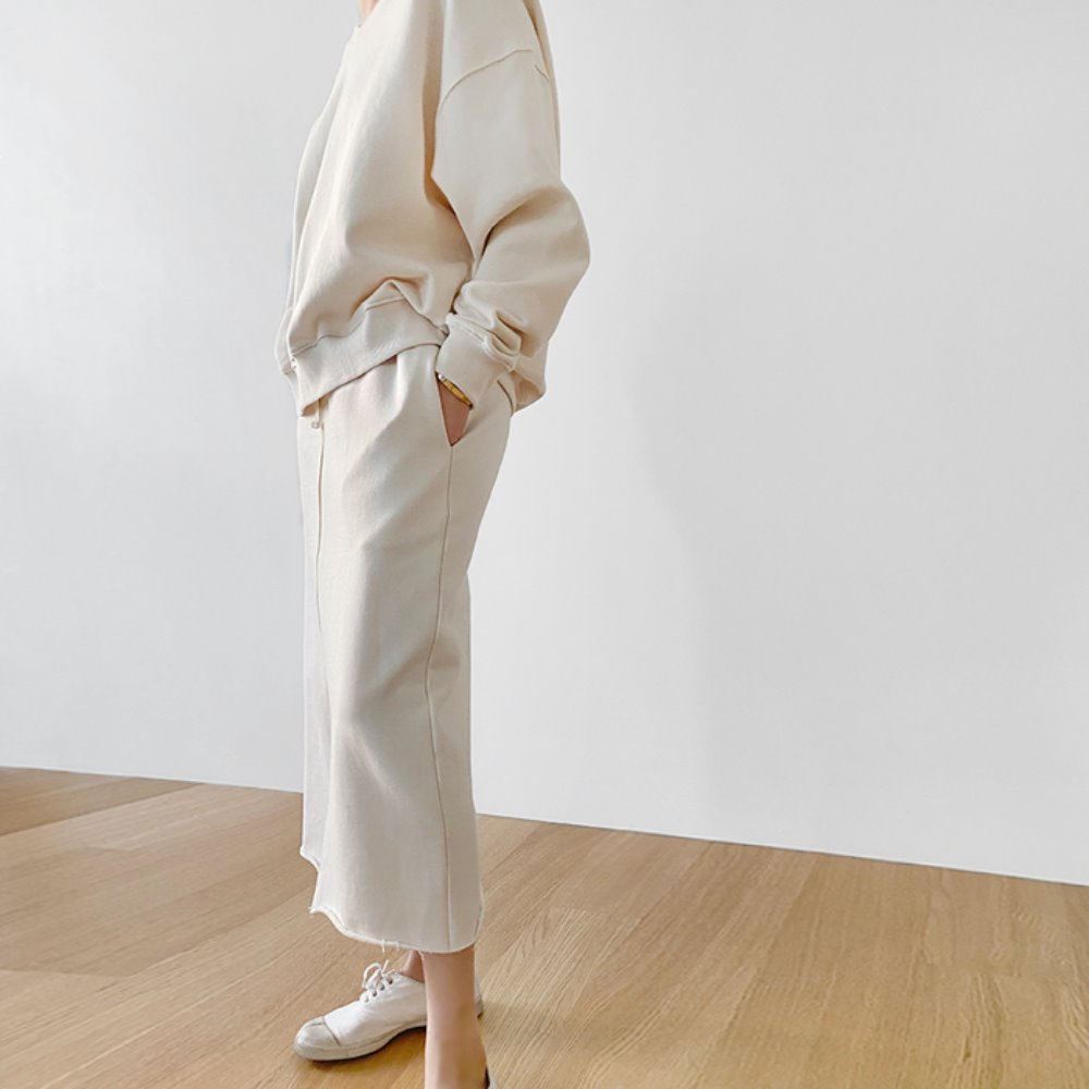 littleblack-코지 브이넥 맨투맨, 스커트(상, 하의 개별판매)♡韓國女裝套裝