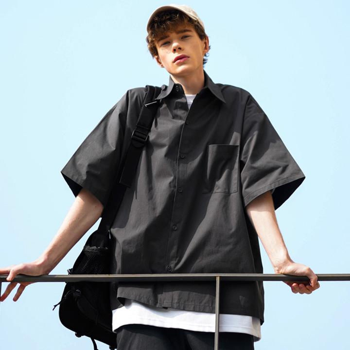 fairplay142-[[4/14배송][퍼스텝] 플라운더 하프 셔츠 다크그레이 DESS4420]♡韓國男裝上衣