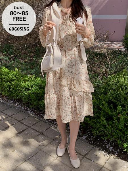 ggsing-[8일9시까지9%할인]플라워 사선프릴 롱OPS (넥리본,허리밴딩,무료배송)♡韓國女裝連身裙