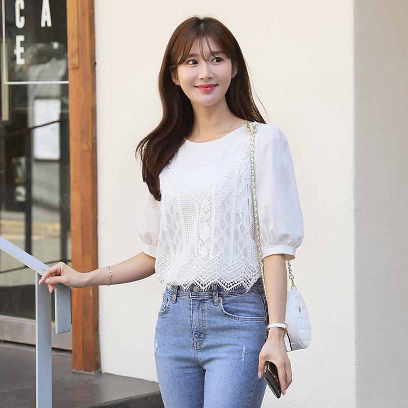 clicknfunny-린레이스 뷔스티에블라우스♡韓國女裝上衣