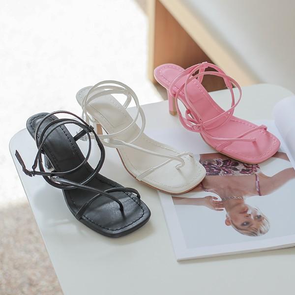 ode-[스퀘어 쪼리 스트랩 샌들힐]♡韓國女裝鞋