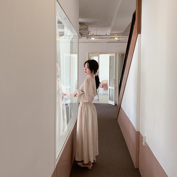 henique-뷰티여신 퍼프 허리 밴딩 플레어 롱 원피스 (크림/민트/블랙)♡韓國女裝連身裙
