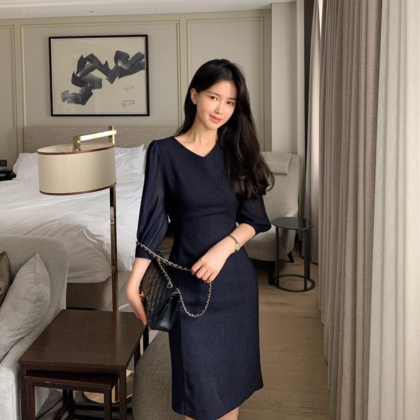 benito-미엔 쉬폰 브이넥 미디 원피스 신상/쉬폰/하객/하객룩/베스트/여성/데일리♡韓國女裝連身裙