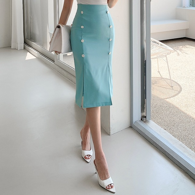 sweetglam-포레나 버튼 트임 스커트♡韓國女裝裙